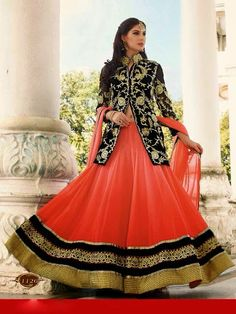 Elegant Orange & Black Lehenga Choli, jacket style long blouse, designer collection 2015, indian dress for wedding, buy chaniya choli online