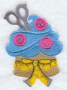 Crafty Cupcake with Buttons and Measuring Tape Machine Embroidery Projects, Free Machine Embroidery Designs, Applique Designs, Embroidery For Beginners, Embroidery Techniques, Paper Embroidery, Embroidery Applique, Sewing Patterns, Crochet Patterns