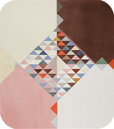 Brown, Pink and White with Diamond, 2010  paper quilt with watercolor and pinpricks  30 x 35 inches