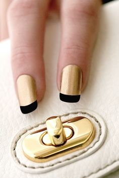 Golden and Black French Mani