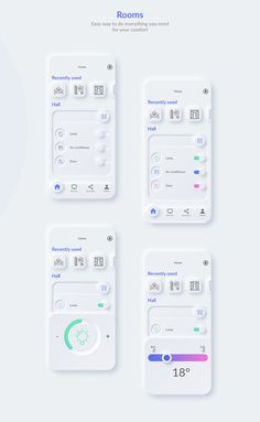 Smart Home. Neumorphism app concept on Behance Web Design Mobile, App Ui Design, Tag Design, Interface Design, User Interface, Layout Design, Graphic Design, Light App, App Design Inspiration