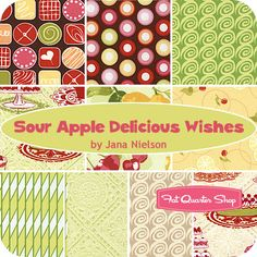 Sour Apple Delicious Wishes Fat Quarter Bundle Jana Nielson of Izzy & Ivy for Henry Glass Fabrics