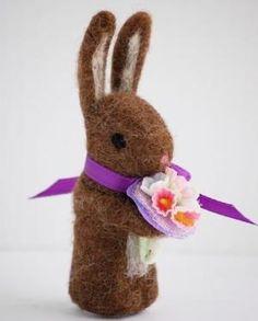 needle felted bunny by SAburns