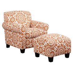 Showcasing a medallion design in orange, this eye-catching arm chair and ottoman set brings a pop of pattern to your living room or parlor.