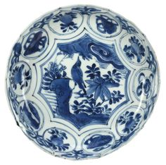 A Chinese blue and white Kraak dish, Wanli period (1573-1619). This dish is unusual in having ten segments in the rim decoration