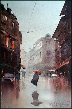 Dusan Djukaric - The rain-bathed streets, Watercolor Watercolor Painting Techniques, Watercolor Landscape Paintings, Watercolor Artists, Rain Painting, Watercolor City, Watercolor Illustration, Watercolor Journal, Watercolor Architecture, Urban Sketching