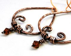 Indian Inspired Jewelry, Hammered Earrings, Wire Wrapped Jewelry, Antiqued Copper Earrings
