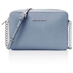 Michael Michael Kors Jet Set Large Saffiano Leather Crossbody ($160) ❤ liked on Polyvore featuring bags, handbags, shoulder bags, saffiano leather handbags, saffiano leather purse, blue crossbody handbag, blue cross body purse and michael michael kors