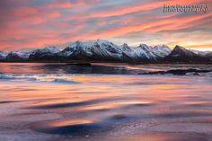 Sunrise in the Lofoten Islands of Norway in winter