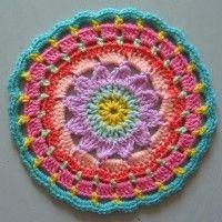 Crochet Mandala Wheel made by Claire, Kent, UK, for yarndale.co.uk