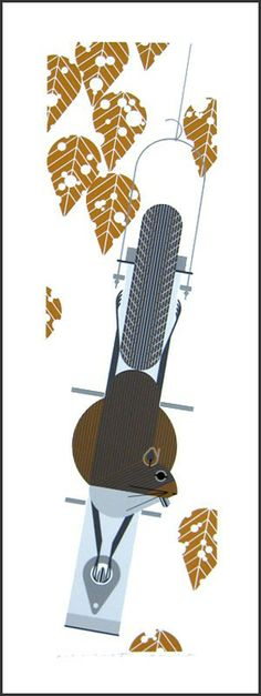 Charley Harper - Furred Feeder - Search Gallery One for Harper, Charley limited edition prints, giclee canvases and original paintings by internationally-known artists Charley Harper, Needlepoint Patterns, Needlepoint Canvases, Wildlife Art, Illustrations And Posters, Types Of Art, Contemporary Paintings, Art Lessons, Framed Art