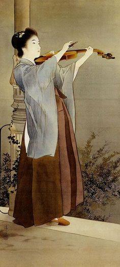 Japanese painting 鏑木清方 Kiyokata Kaburagi (1878-1972)「秋宵」
