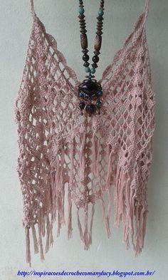 With charts crochet top/bikini cover up-  Inspirações de Croche com Any Lucy: Top-Minha Autoria