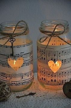 10 x Handmade Vintage Sheet Music Wedding Glass Jars Brand New Rustic CandleVase Why is music themed wedding stuff so perfect? Sheet Music Wedding, Vintage Sheet Music, Vintage Sheets, Music Wedding Themes, Vintage Wedding Centerpieces, Wedding Venue Decorations, Wedding Table, Wedding Jars, Wedding Rustic