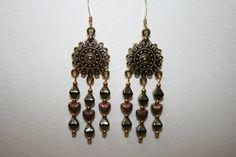 Bronze/Copper Chandelier Earrings with by ClassyKittyJewelry