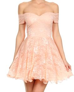 off shoulder sweetheart fit and flare lace mini dress – shop hearts