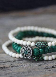 Tsavorite White Turquoise Stacking Bracelet / Magnesite