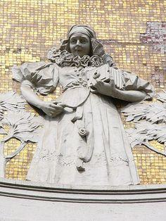 Garb of Haná region - relief at Ostružnická street in Olomouc