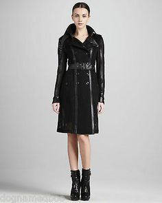 $3K BURBERRY LONDON RUNWAY LEATHER MESH perforated black trench coat jacket 38 4