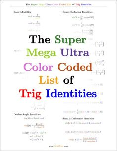 Trig identities are a bear to memorize. But with this color coded free download, theyre just a bit easier! www. MathFour.com/?utm_content=bufferc949e&utm_medium=social&utm_source=pinterest.com&utm_campaign=buffer