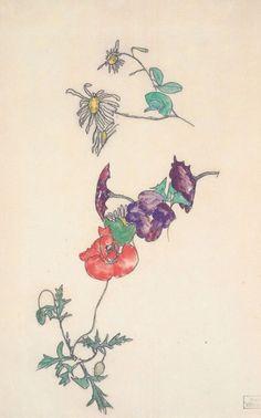 Idea - poppy with hummingbird