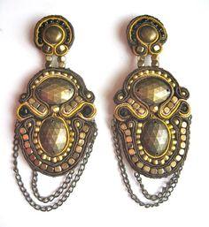 £45 soutache earrings by BlackMarketJewels #soutache #beads #earrings #statement #gold #jewellery #jewelry #blackmarketjewels
