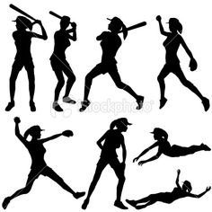 Fast Pitch Softball Silhouette Collection Royalty Free Stock Vector Art Illustration