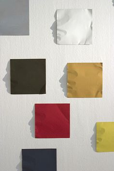 The designer Kumi Yamashita had a great idea: to modeled an aluminum sheet in a interesting ways. Using only light and a white background he created a interesting shadows. The each color sheet on the wall, lit from the right, casts a silhouette of a profile.