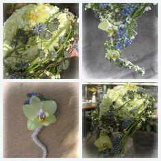 Dråpebukett med nelliker, orchidè, perleblomst, voksblomst og hjerteranke. (Øvingsbukett).