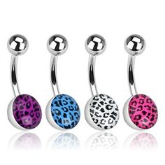 Leopard Print 316L Surgical Steel Basic Belly Ring Basic Belly Bars. bellylicious Belly Rings   Australian Belly Ring Store
