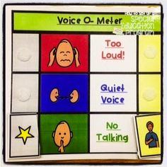 Voice o meter- visual supports for students who struggle being quiet during the day. behavior management for students with special needs and autism