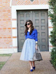 Blue Tulle Full Skirt - BrightonTheDay