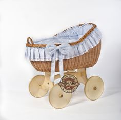"""Brand New Wicker Crib Moses Basket Cot """"Bianca Ant Blue"""" incl. Bedding, Mattress from MJmark: Amazon.co.uk: Baby"""