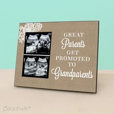 Pregnancy reveal to grandparents to be baby reveal idea to great great parents get promoted to grandparents burlap lace frame pregnancy reveal gift negle Gallery