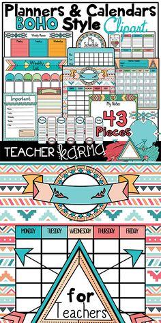 BOHO Style planner, calendar & to do list GRAPHICS are perfect for Teachers Pay Teachers sellers, classroom teachers, and just about EVERYONE else.  TeacherKarma.com