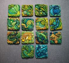 "Just finished this group of inchies. Each is 1"" square (hence the name ) All color comes from the clay, the only paint used was a wash of black acrylic to enhance the textures. These took FOREVER! ..."