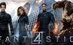 New 'Fantastic Four' posters features the film's heroes front and center, with the villainous Doctor Doom looming in the background. Film 2015, 2015 Movies, Hd Movies, Movies Online, Watch Movies, Tv Watch, Miles Teller, Fantastic Four Characters, Fantastic Four Movie
