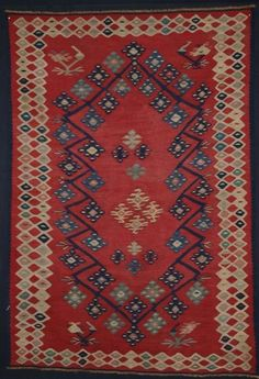 Size: x x Antique Anatolian Sarkoy kilim of rare small size Late century A beautiful small kilim of very fine weave, with exceptional drawing Excellent natural colour through out Very good condition with slight wear and a few old re-weaves Hand washed and