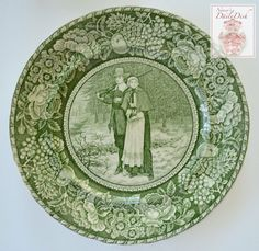 Antique Green Toile English Transferware Plate - Thanksgiving Decor Pilgrim Couple Absolutely stunning example of custom items exported to the American Market. This plate was made for the prestigious
