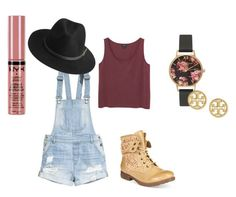 """""""Work from Home"""" by chere-nobler on Polyvore featuring ZiGiny, H&M, BeckSöndergaard, Monki, Olivia Burton, Tory Burch, NYX, fifthharmony and Iloveworkboots"""