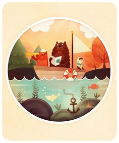 Animals in a boat | Illustration by Marianne Vincent