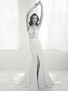 Ranuar: Sensuality and elegance all in one dress. Mermaid style wedding dress with central leg split. Two-piece effect with transparencies and gemstone embroidery. Pronovias Wedding Silhouette, British Wedding Dresses, Luxury Wedding Dress, Sexy Wedding Dresses, Bridal Dresses, Wedding Gowns, Pronovias Dresses, Pronovias Bridal, Mod Wedding