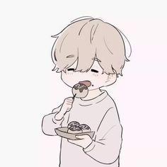 Nice to eat Kawaii Chibi, Cute Chibi, Kawaii Art, Anime Chibi, Kawaii Anime, Anime Art, Character Art, Character Design, Chibi Couple
