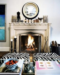 I could definitely cozy up next to this fireplace.