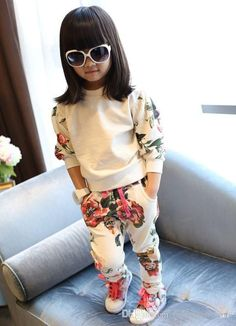 New 2015 Toddler Baby Spring Autumn Floral Clothes Girls Boutique Outfits Kids…