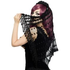 Crocheted Venetian Lace Gothic Wedding Veil by Sinister ($37) ❤ liked on Polyvore featuring accessories