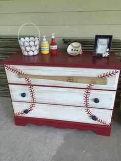 Repainting an old dresser is the ultimate way to transform a kid's room into a fantasy baseball bedroom. These projects range from super easy to more suited for Baseball Bedroom Decor, Baseball Nursery, Sports Themed Nursery, Softball Bedroom, Baseball Dresser, Baseball Furniture, Furniture Makeover, Diy Furniture, Bedroom Furniture