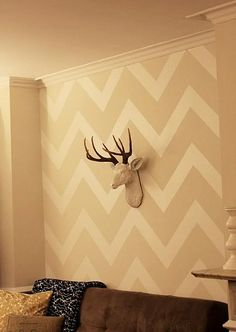 chevron wall. Still trying to talk Ryan into one. Love the beige!