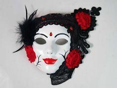 My latest creation. #maskshop #masksale #masksculpture #masksdesign #maskseries #masksell #masksmadewithlove❤ #masksrock #fantasyart #australianartist #australianartistsoninstagram #australianart #australianartanddesign Red Chiffon, Chiffon Flowers, Victorian Collar, Steampunk Accessories, Gothic Steampunk, Australian Artists, White Walls, Headdress, Fabric Patterns
