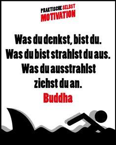Zitat Buddha - Was du denkst, bist du. Was du bist strahlst du aus. Was du ausstrahlst ziehst du an. Buddha, Spirit, Self Discipline, Self Motivation, Motivational Sayings, Joie De Vivre, Funny